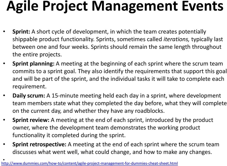 Sprint planning:a meeting at the beginning of each sprint where the scrum team commits to a sprint goal.