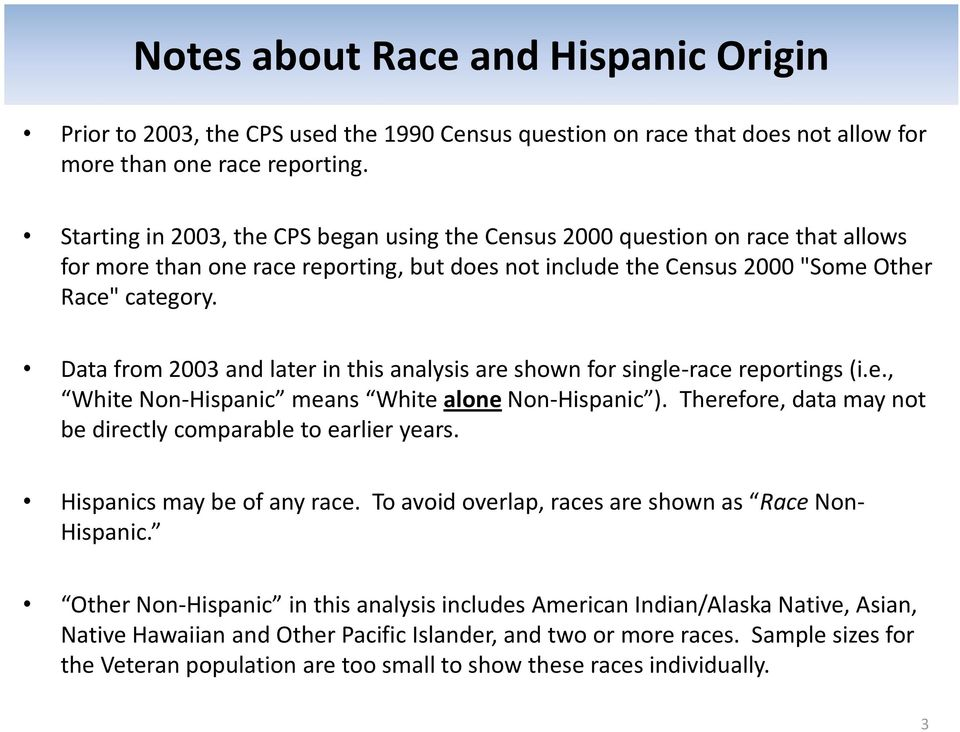 Data from 3 and later in this analysis are shown for single-race reportings (i.e., White Non-Hispanic means White alone Non-Hispanic ). Therefore, data may not be directly comparable to earlier years.