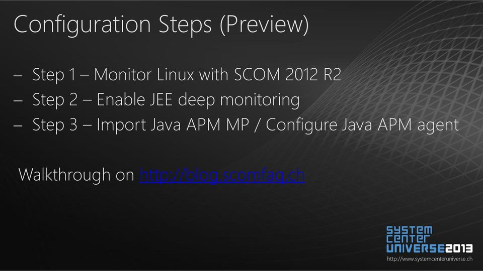 monitoring Step 3 Import Java APM MP / Configure
