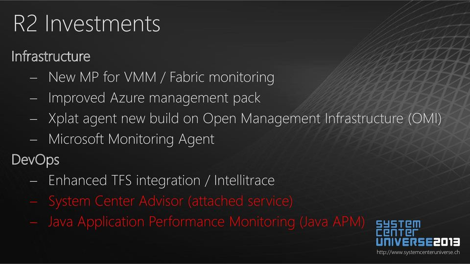 Microsoft Monitoring Agent DevOps Enhanced TFS integration / Intellitrace System