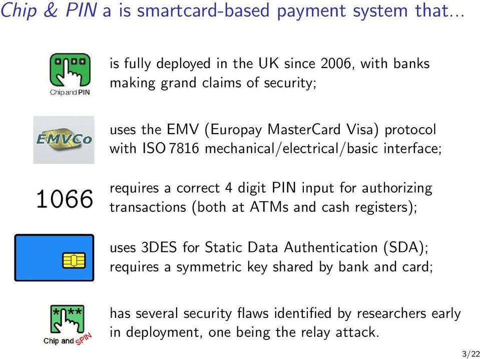 with ISO 7816 mechanical/electrical/basic interface; 1066 requires a correct 4 digit PIN input for authorizing transactions (both at ATMs