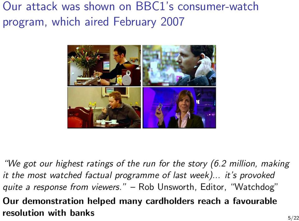 2 million, making it the most watched factual programme of last week).
