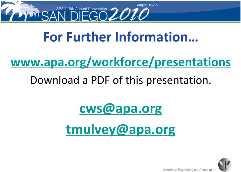 PDF of this presentation. cws@apa.