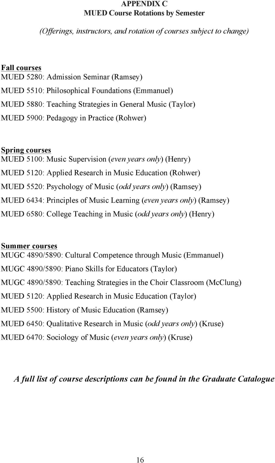 5120: Applied Research in Music Education (Rohwer) MUED 5520: Psychology of Music (odd years only) (Ramsey) MUED 6434: Principles of Music Learning (even years only) (Ramsey) MUED 6580: College
