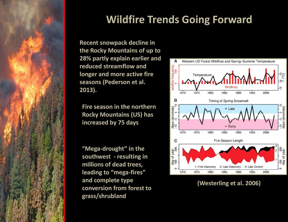 Fire season in the northern Rocky Mountains (US) has increased by 75 days Mega-drought in the southwest -