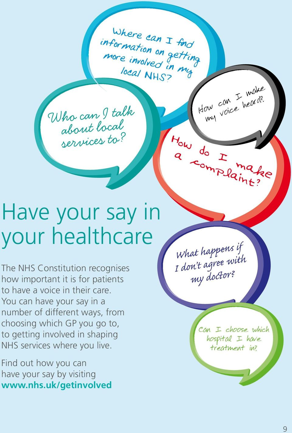 Have your say in your healthcare The NHS Constitution recognises how important it is for patients to have a voice in their care.