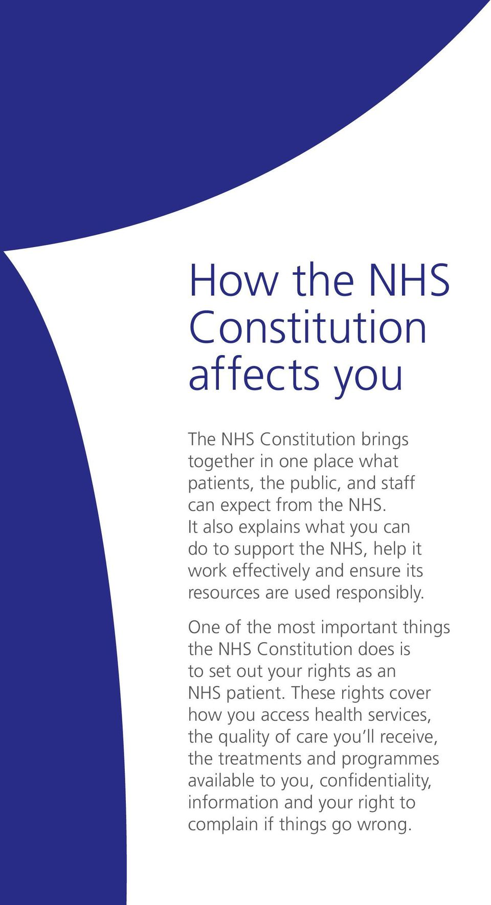 One of the most important things the NHS Constitution does is to set out your rights as an NHS patient.