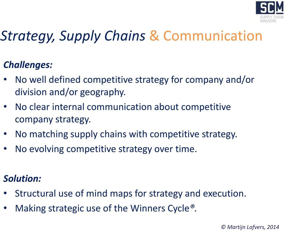 No matching supply chains with competitive strategy. No evolving competitive strategy over time.