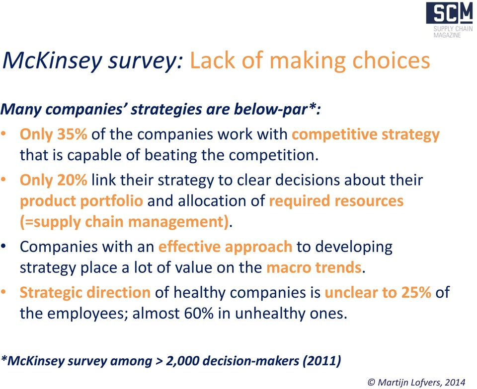Only 20% link their strategy to clear decisions about their product portfolio and allocation of required resources (=supply chain management).