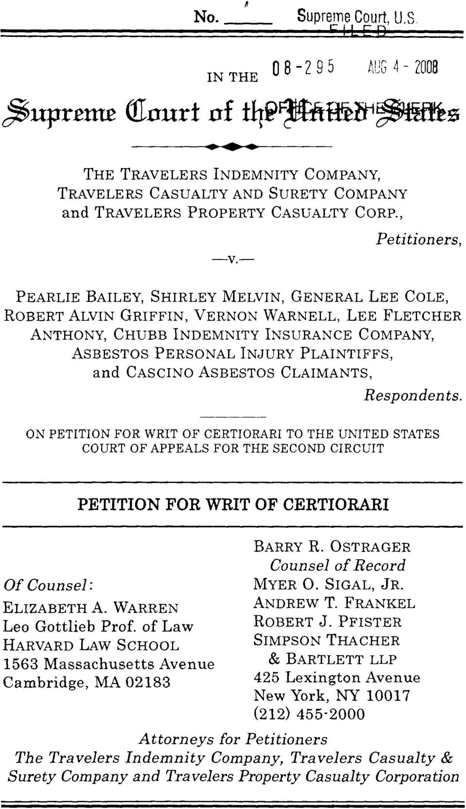 and CASCINO ASBESTOS CLAIMANTS, Respondents. ON PETITION FOR WRIT OF CERTIORARI TO THE UNITED STATES COURT OF APPEALS FOR THE SECOND CIRCUIT PETITION FOR WRIT OF CERTIORARI Of Counsel : ELIZABETH A.