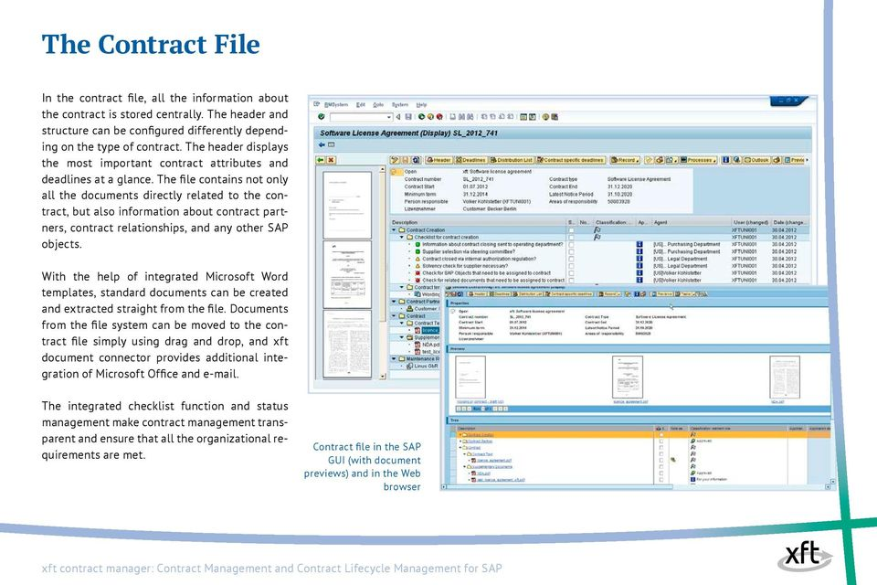 The file contains not only all the documents directly related to the contract, but also information about contract partners, contract relationships, and any other SAP objects.