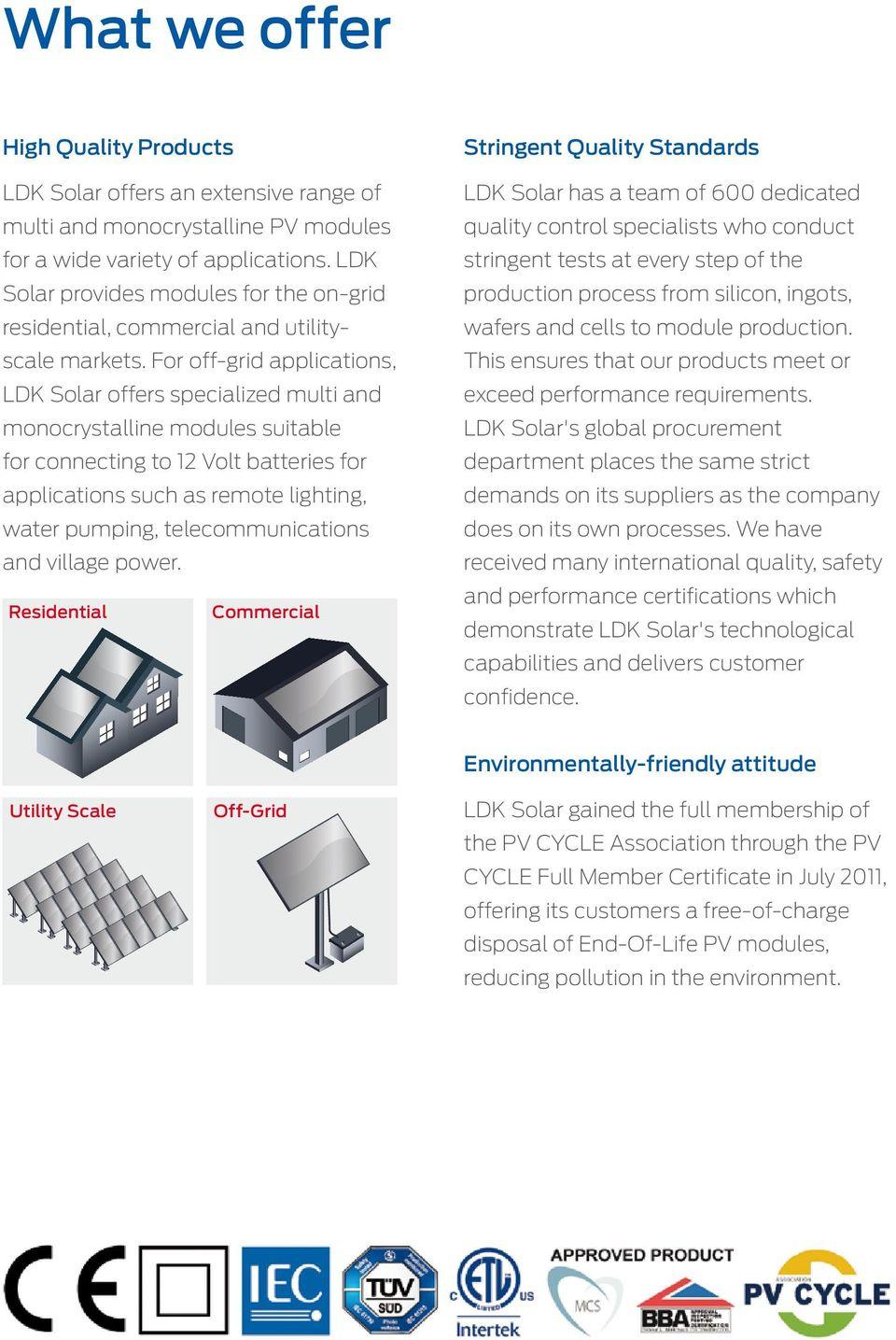 For off-grid applications, LDK Solar offers specialized multi and monocrystalline modules suitable for connecting to 12 Volt batteries for applications such as remote lighting, water pumping,