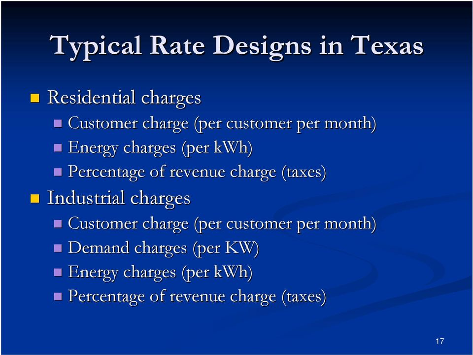 (taxes) Industrial charges Customer charge (per customer per month) Demand