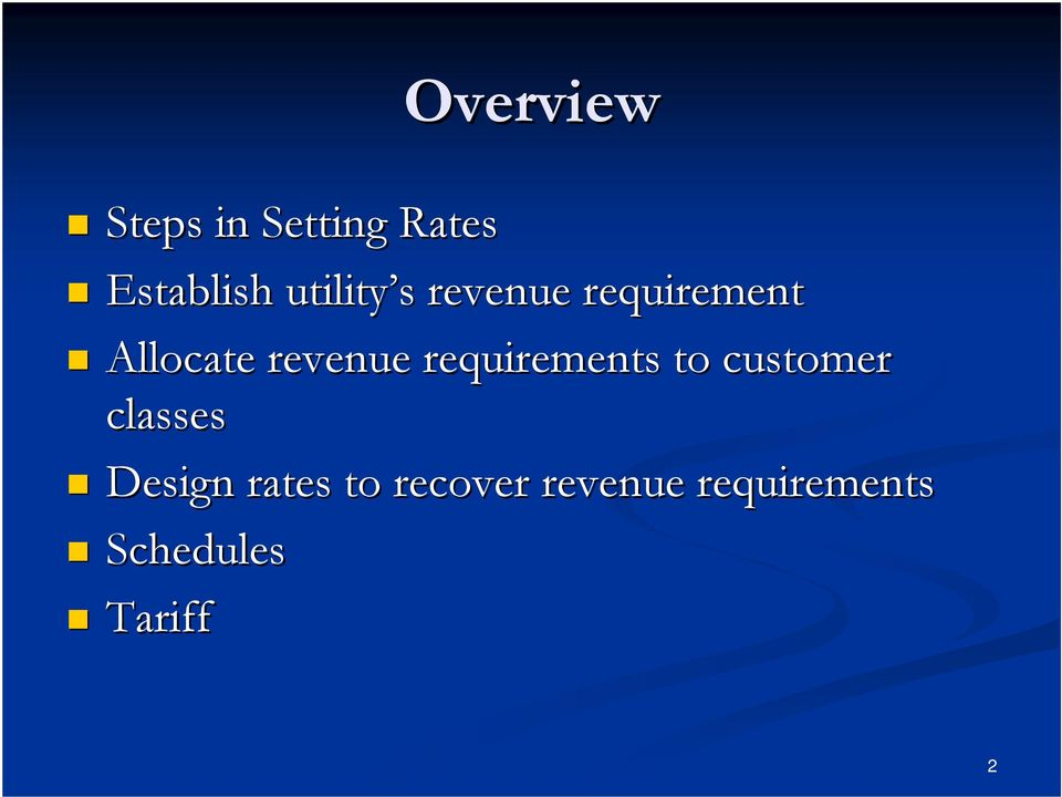 revenue requirements to customer classes