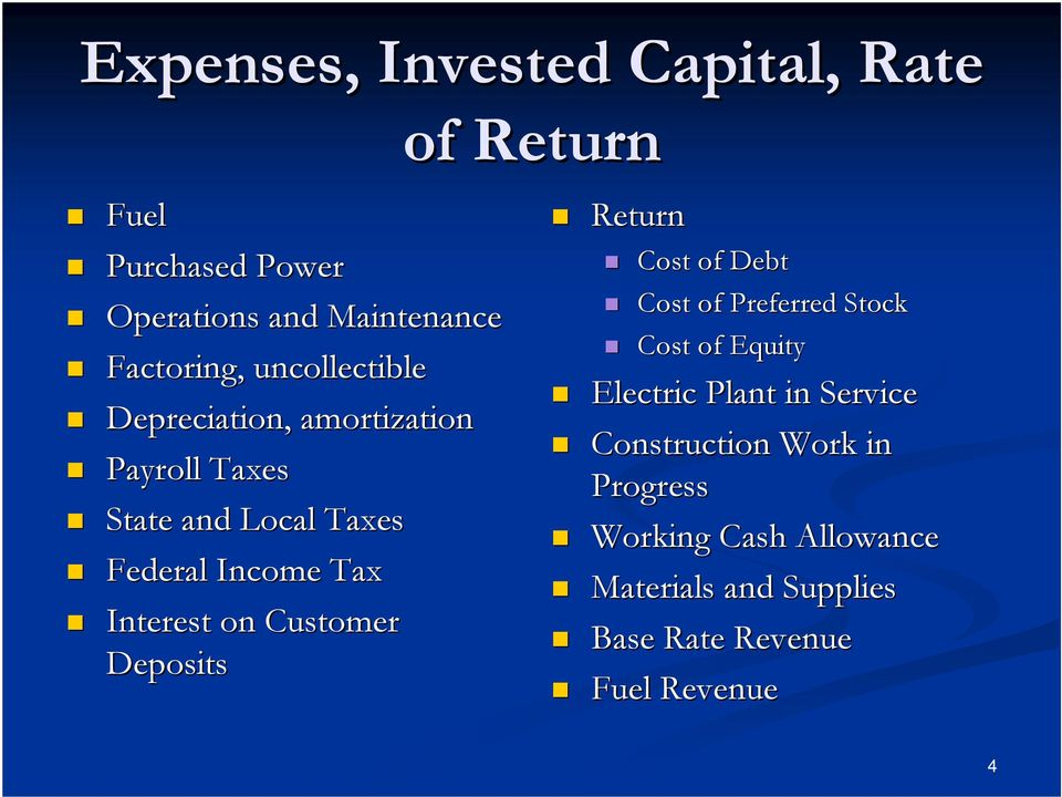 on Customer Deposits Return Cost of Debt Cost of Preferred Stock Cost of Equity Electric Plant in Service
