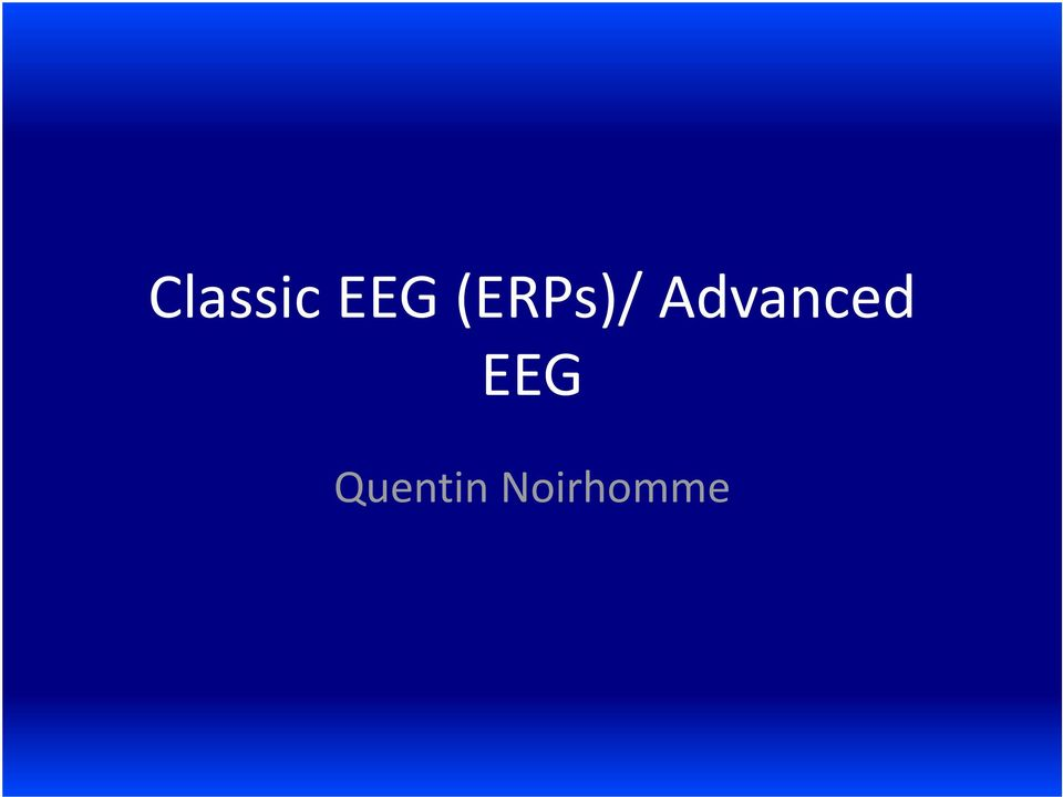 Advanced EEG