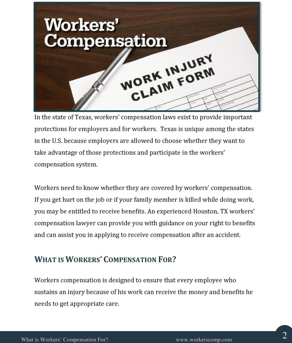 Workers need to know whether they are covered by workers compensation. If you get hurt on the job or if your family member is killed while doing work, you may be entitled to receive benefits.