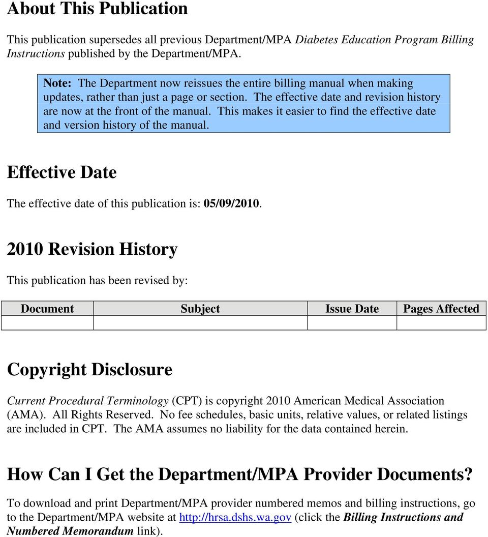 This makes it easier to find the effective date and version history of the manual. Effective Date The effective date of this publication is: 05/09/2010.