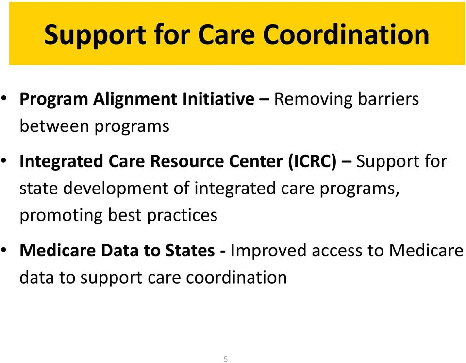 development of integrated care programs, promoting best practices Medicare