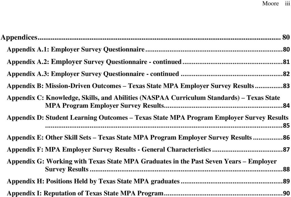 .. 83 Appendix C: Knowledge, Skills, and Abilities (NASPAA Curriculum Standards) Texas State MPA Program Employer Survey Results.