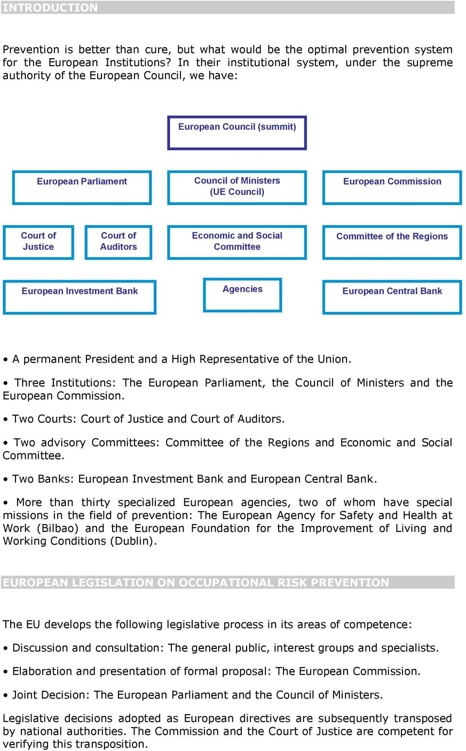 of Justice Court of Auditors Economic and Social Committee Committee of the Regions European Investment Bank Agencies European Central Bank A permanent President and a High Representative of the