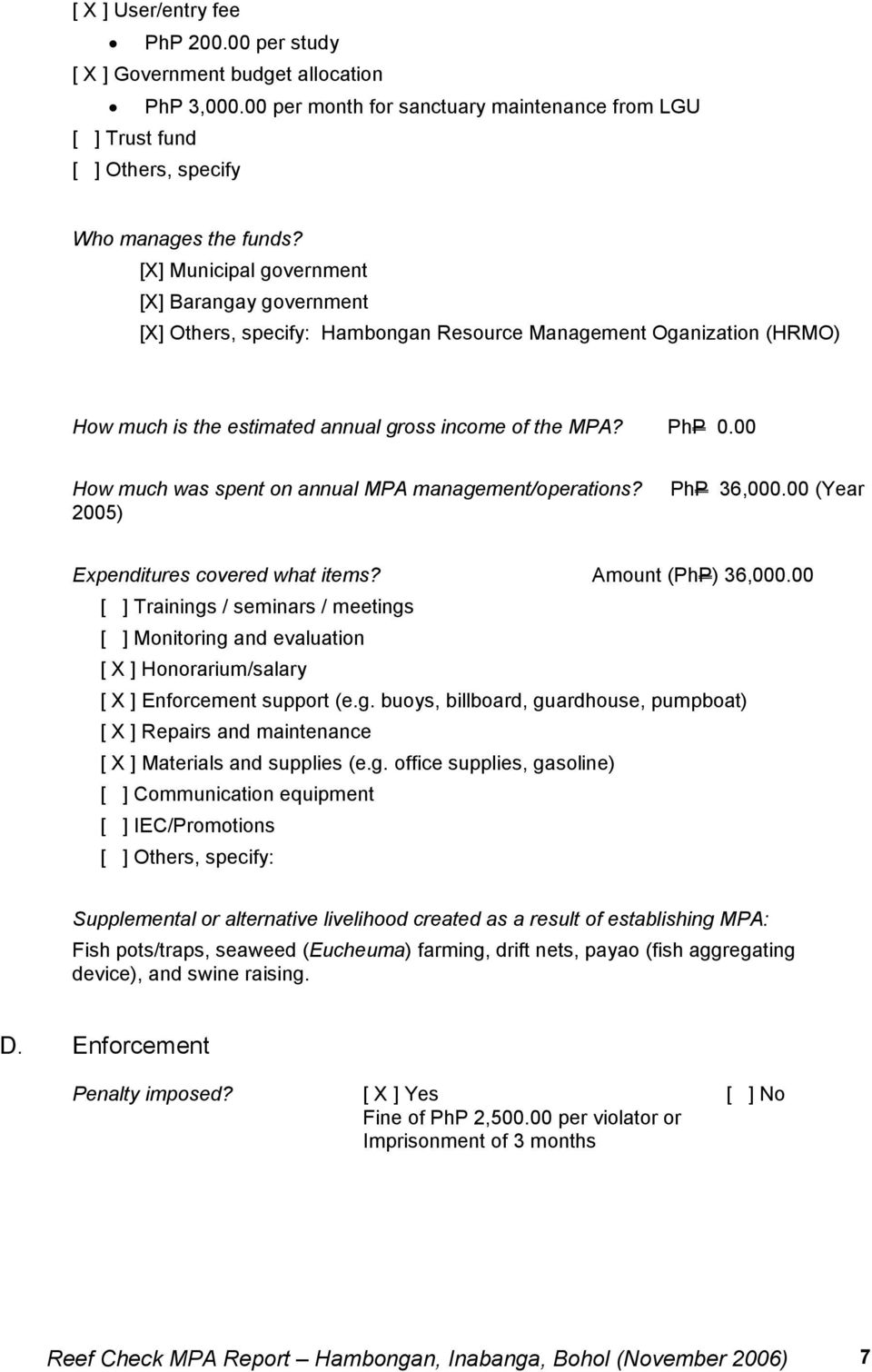 00 How much was spent on annual MPA management/operations? 2005) PhP 36,000.00 (Year Expenditures covered what items? Amount (PhP) 36,000.