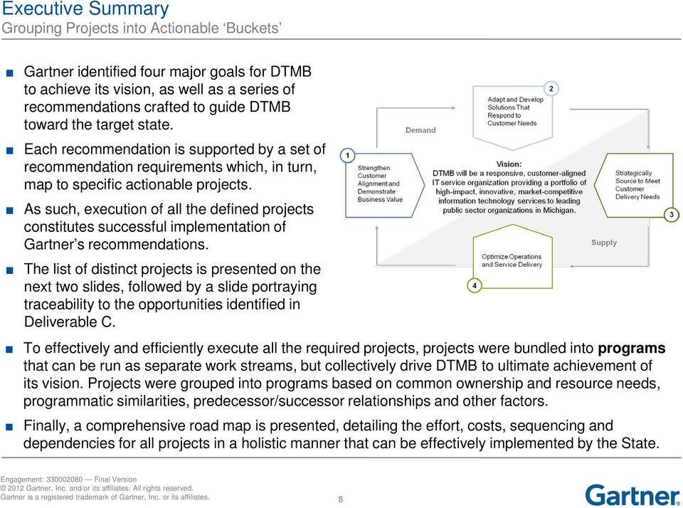 As such, execution of all the defined projects constitutes successful implementation of Gartner s recommendations.