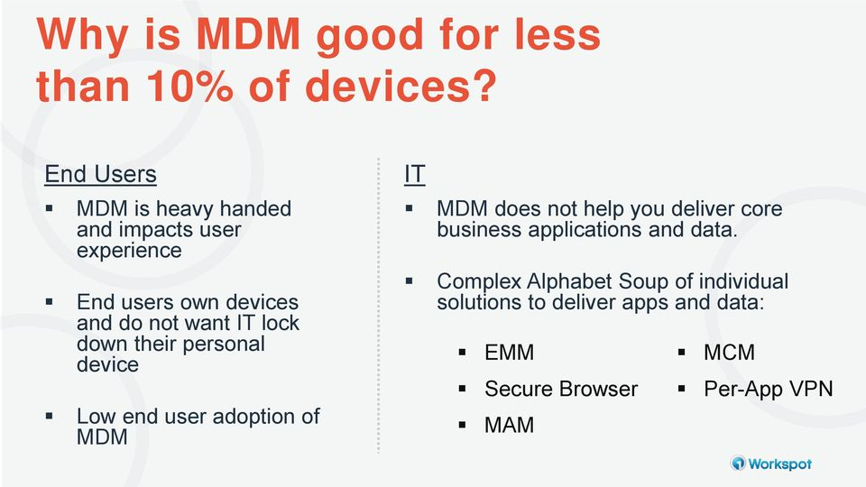 IT lock down their personal device Low end user adoption of MDM IT MDM does not help you deliver