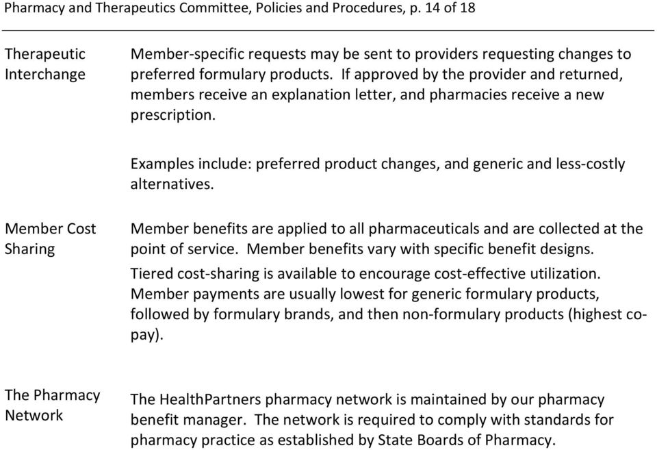 Examples include: preferred product changes, and generic and less costly alternatives. Member Cost Sharing Member benefits are applied to all pharmaceuticals and are collected at the point of service.