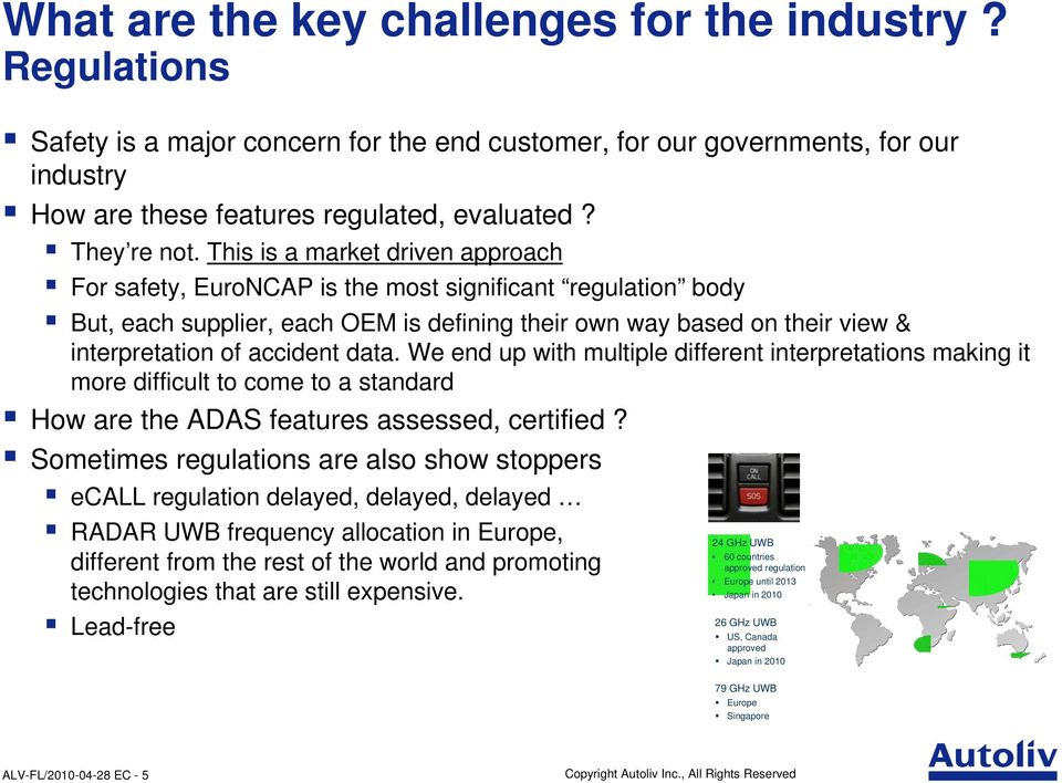 This is a market driven approach For safety, EuroNCAP is the most significant regulation body But, each supplier, each OEM is defining their own way based on their view & interpretation of accident