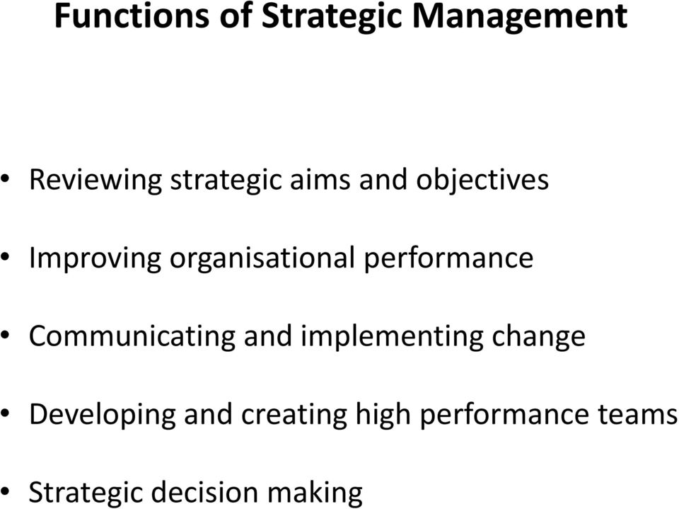 performance Communicating and implementing change