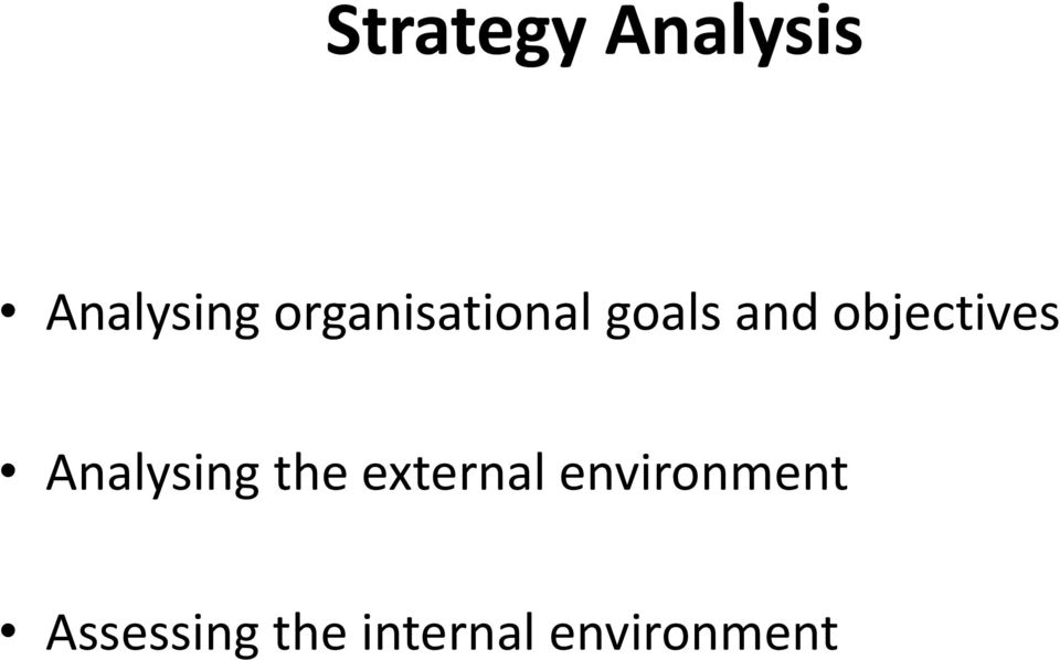 objectives Analysing the external