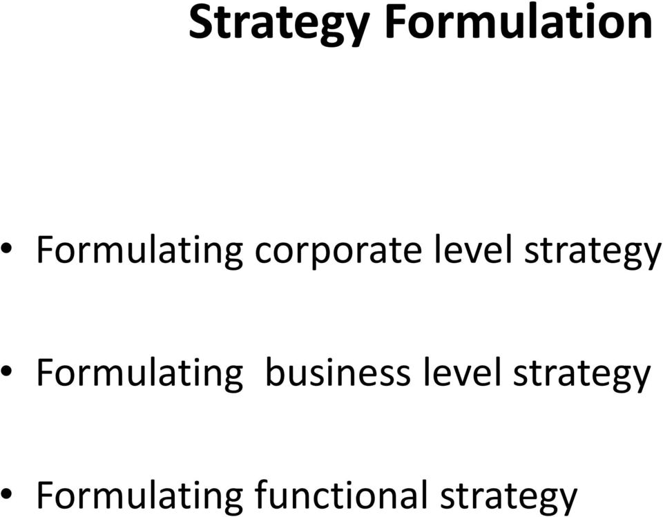 strategy Formulating business
