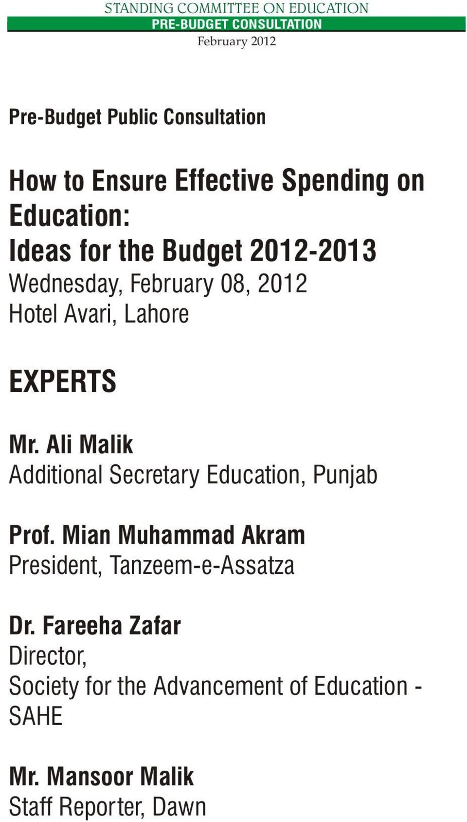 Ali Malik Additional Secretary Education, Punjab Prof.