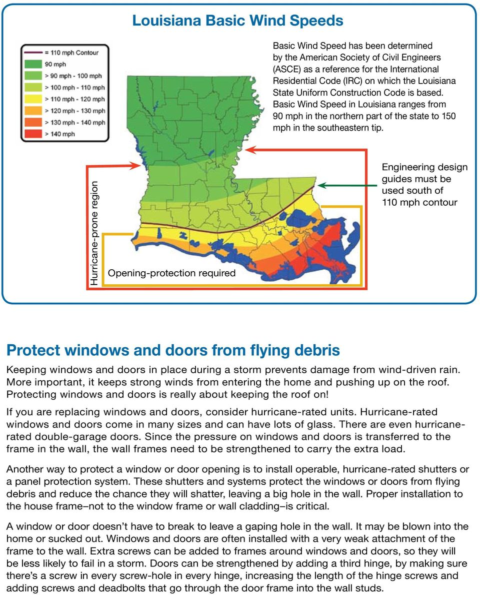 Hurricane-prone region Opening-protection required Engineering design guides must be used south of 110 mph contour Protect windows and doors from flying debris Keeping windows and doors in place