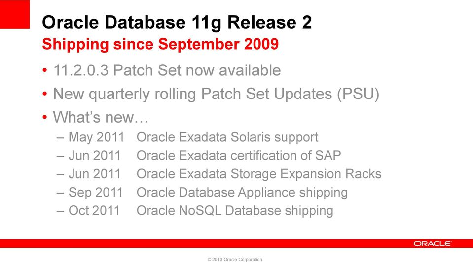 3 Patch Set now available New quarterly rolling Patch Set Updates (PSU) What s new May 2011