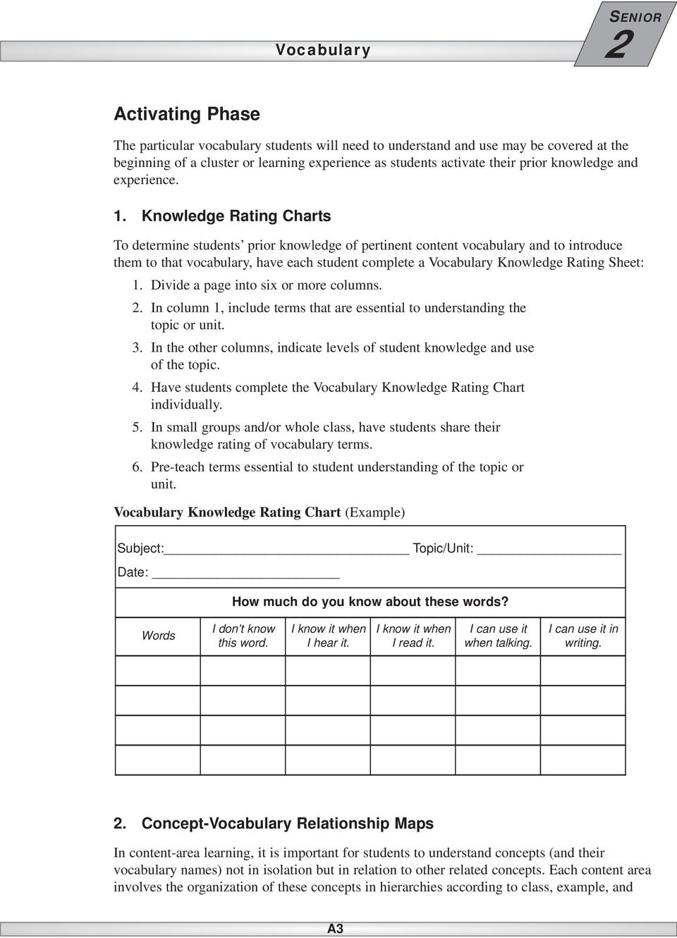 Knowledge Rating Charts To determine students prior knowledge of pertinent content vocabulary and to introduce them to that vocabulary, have each student complete a Knowledge Rating Sheet: 1.