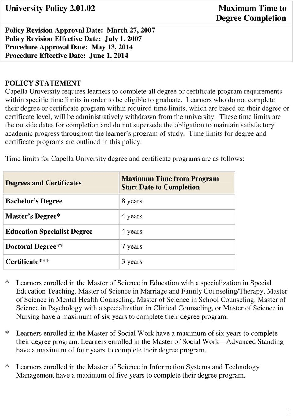 Completion POLICY STATEMENT Capella University requires learners to complete all degree or certificate program requirements within specific time limits in order to be eligible to graduate.