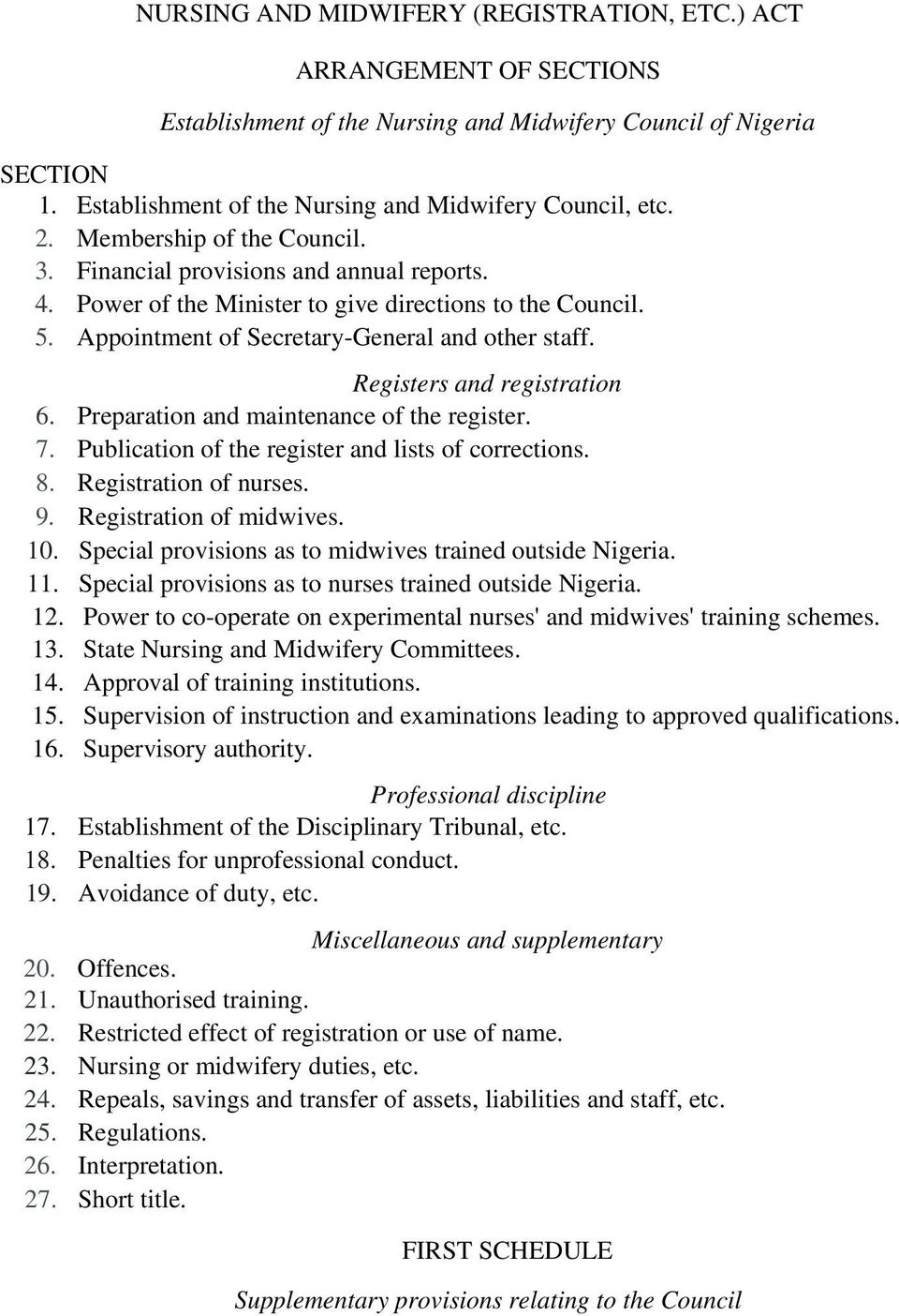 Registers and registration 6. Preparation and maintenance of the register. 7. Publication of the register and lists of corrections. 8. Registration of nurses. 9. Registration of midwives. 10.