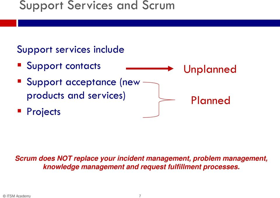 Unplanned Planned Scrum does NOT replace your incident management,