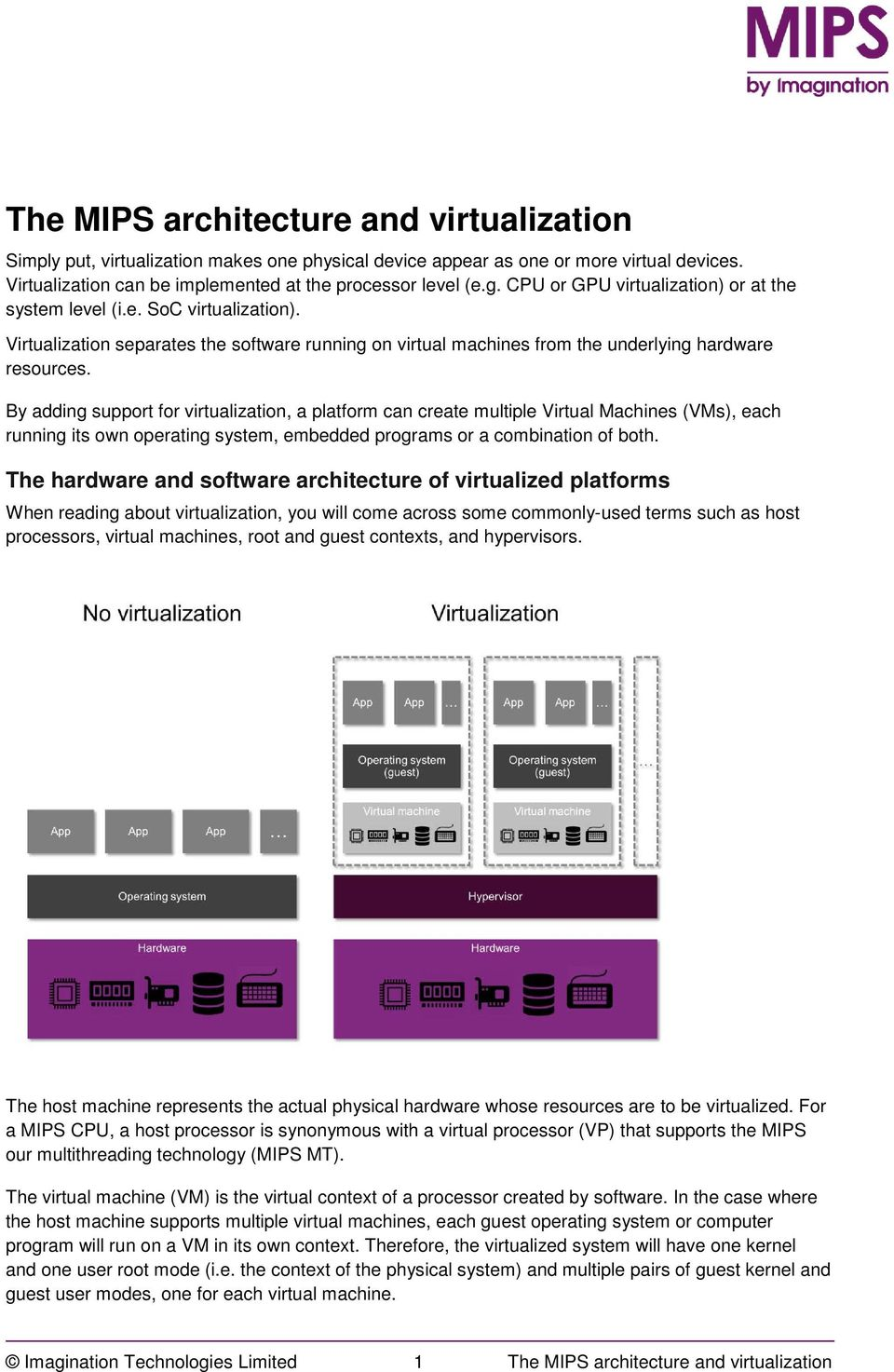 By adding support for virtualization, a platform can create multiple Virtual Machines (VMs), each running its own operating system, embedded programs or a combination of both.