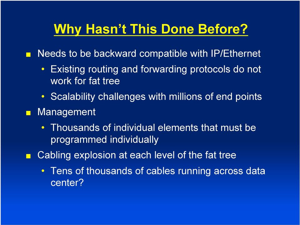 not work for fat tree Scalability challenges with millions of end points Management Thousands