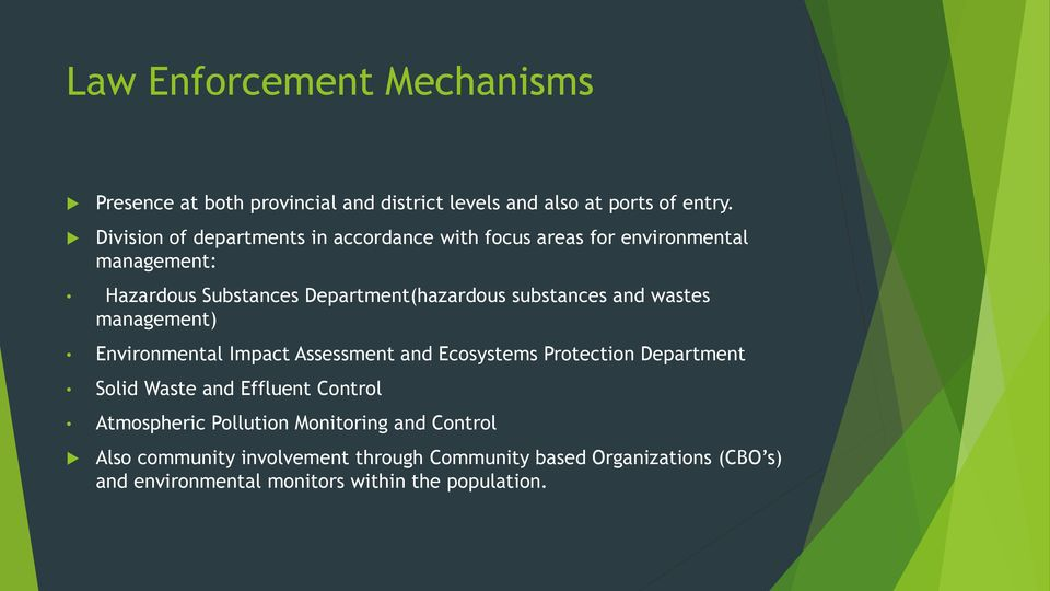 substances and wastes management) Environmental Impact Assessment and Ecosystems Protection Department Solid Waste and Effluent