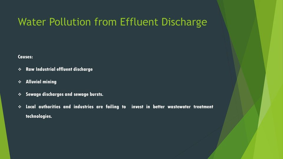 discharges and sewage bursts.