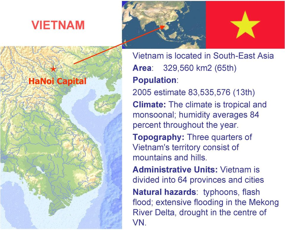 Topography: Three quarters of Vietnam's territory consist of mountains and hills.