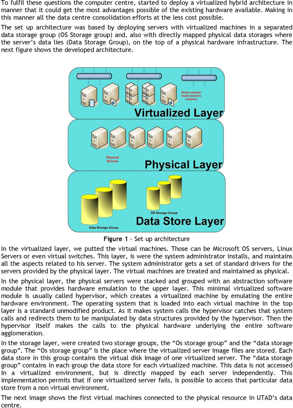 The set up architecture was based by deploying servers with virtualized machines in a separated data storage group (OS Storage group) and, also with directly mapped physical data storages where the
