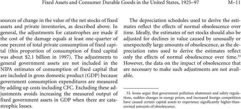 consumption of fixed capital was about $2.1 billion in 1997).