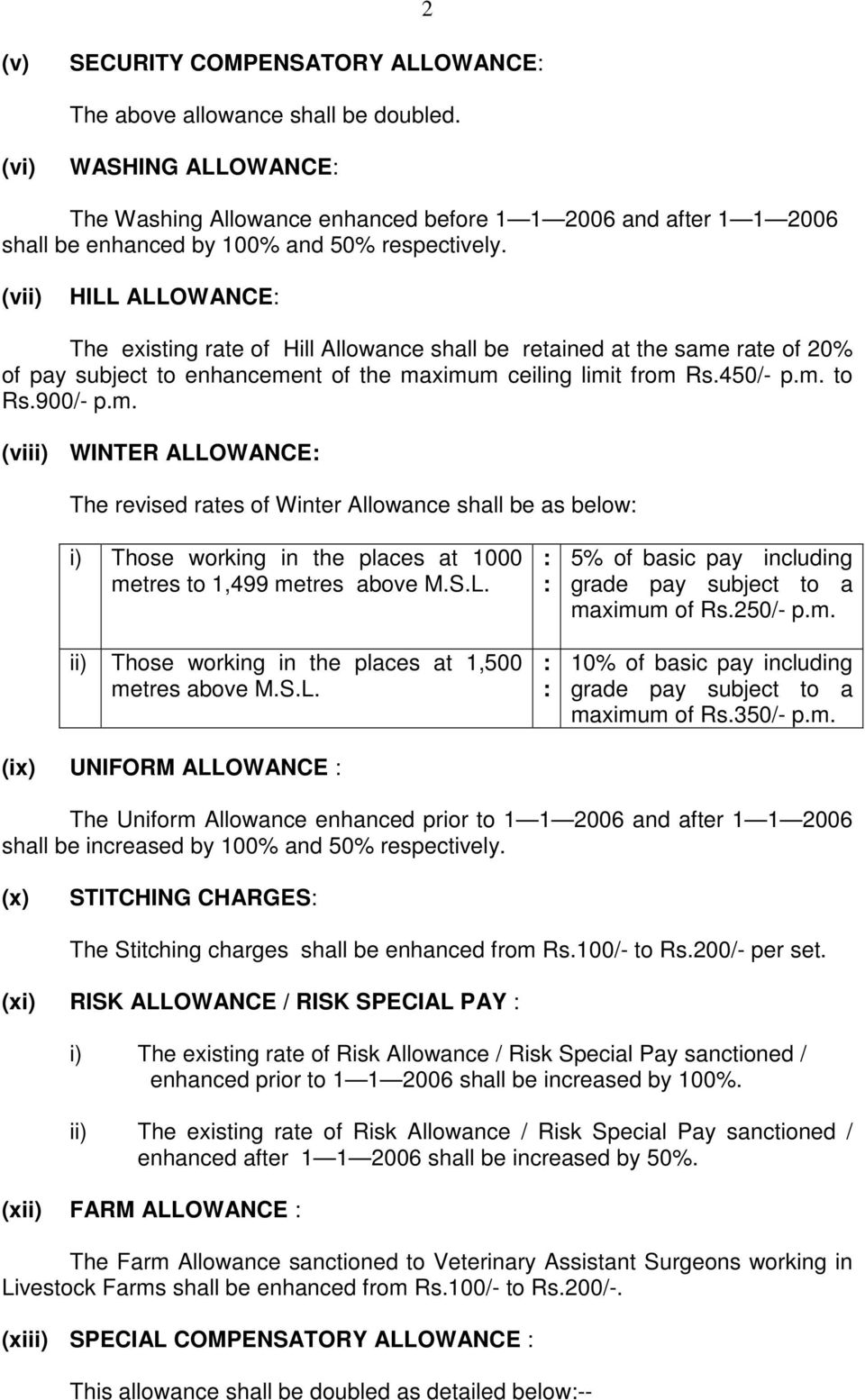 (vii) HILL ALLOWANCE The existing rate of Hill Allowance shall be retained at the same