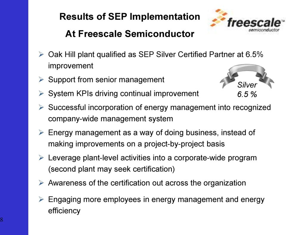 5 % Successful incorporation of energy management into recognized company-wide management system Energy management as a way of doing business, instead of making