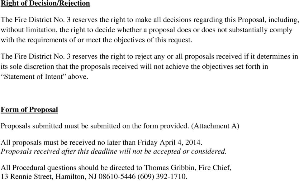 of or meet the objectives of this request. The Fire District No.